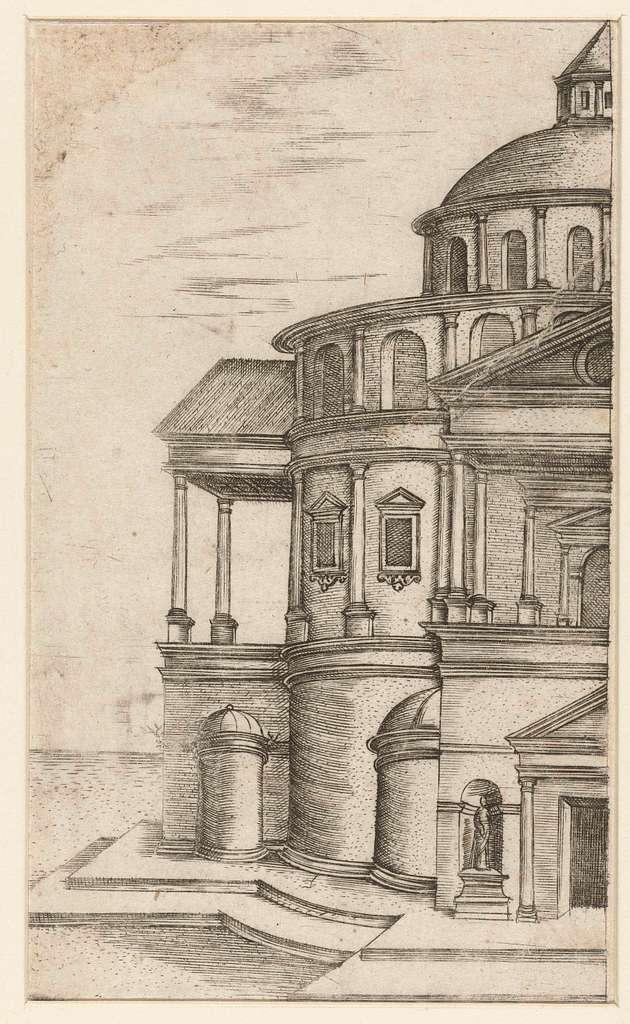 Deel van het exterieur van een klassieke tempel