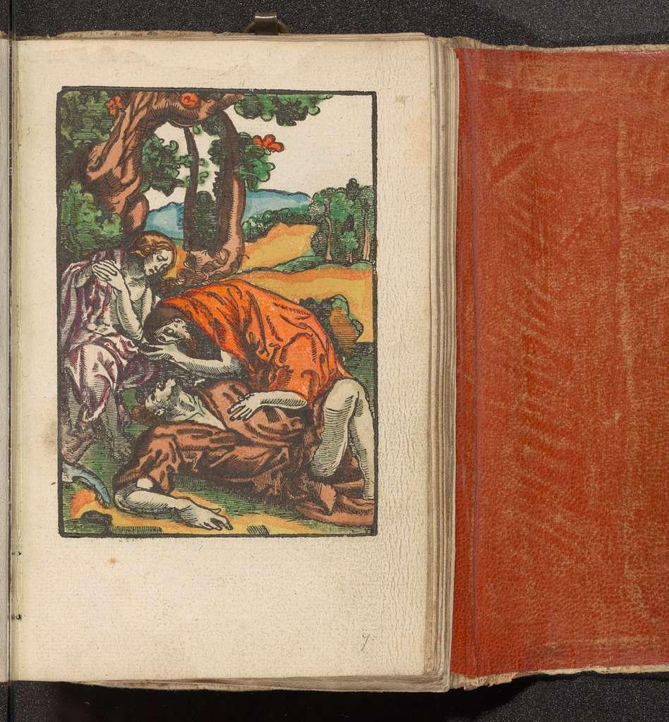 Adam en Eva bewenen de dode Abel
