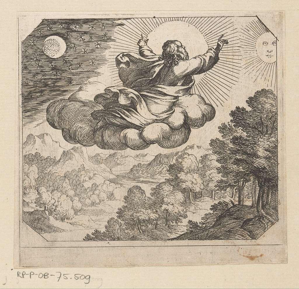 God schept de zon, de maan en de sterren