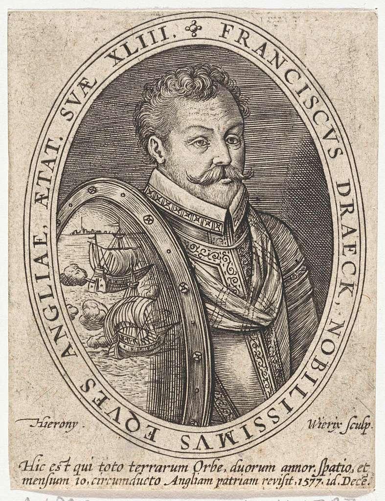 Portret van Francis Drake, op 43-jarige leeftijd