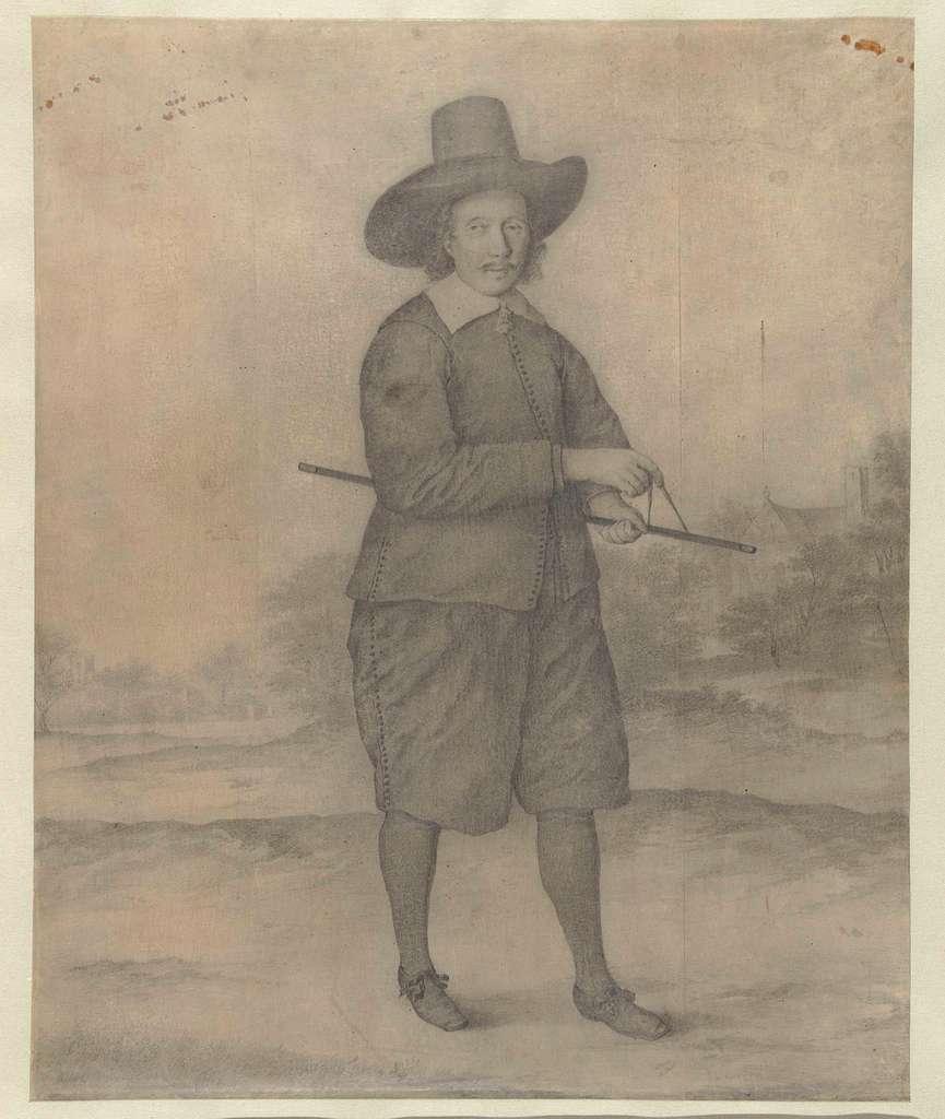 Staande man met breedgerande hoed, ten voeten uit