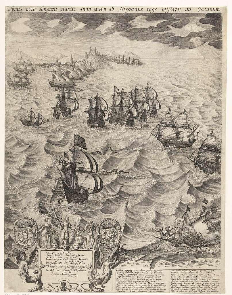De vernietiging van de Spaanse galeien voor de Vlaamse kust (linkerblad), 1602