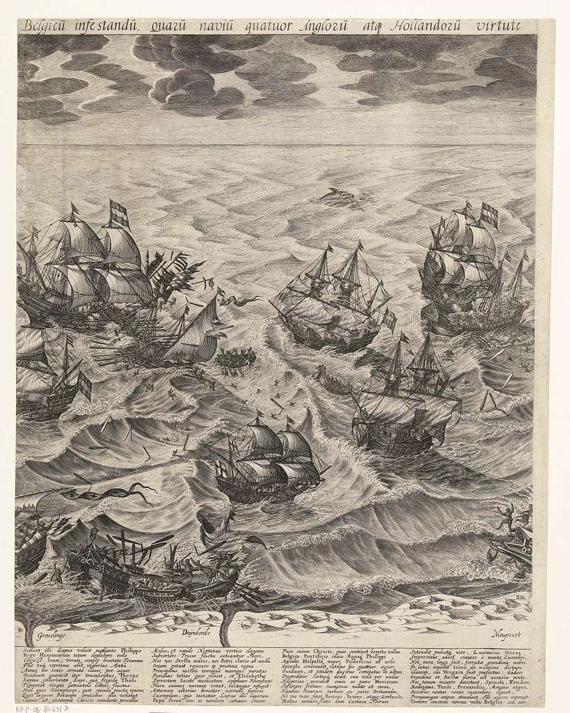 De vernietiging van de Spaanse galeien voor de Vlaamse kust (middenblad), 1602