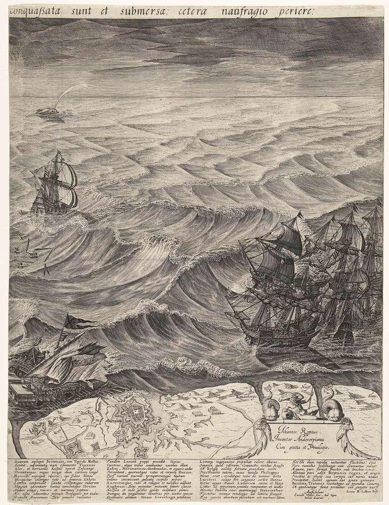 De vernietiging van de Spaanse galeien voor de Vlaamse kust (rechterblad), 1602