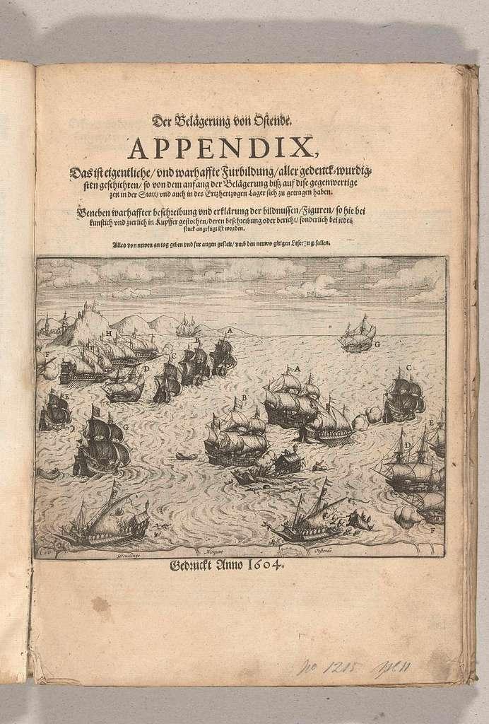 Titelprent voor de Appendix: de vernietiging van Spaanse galeien, 3 oktober 1602