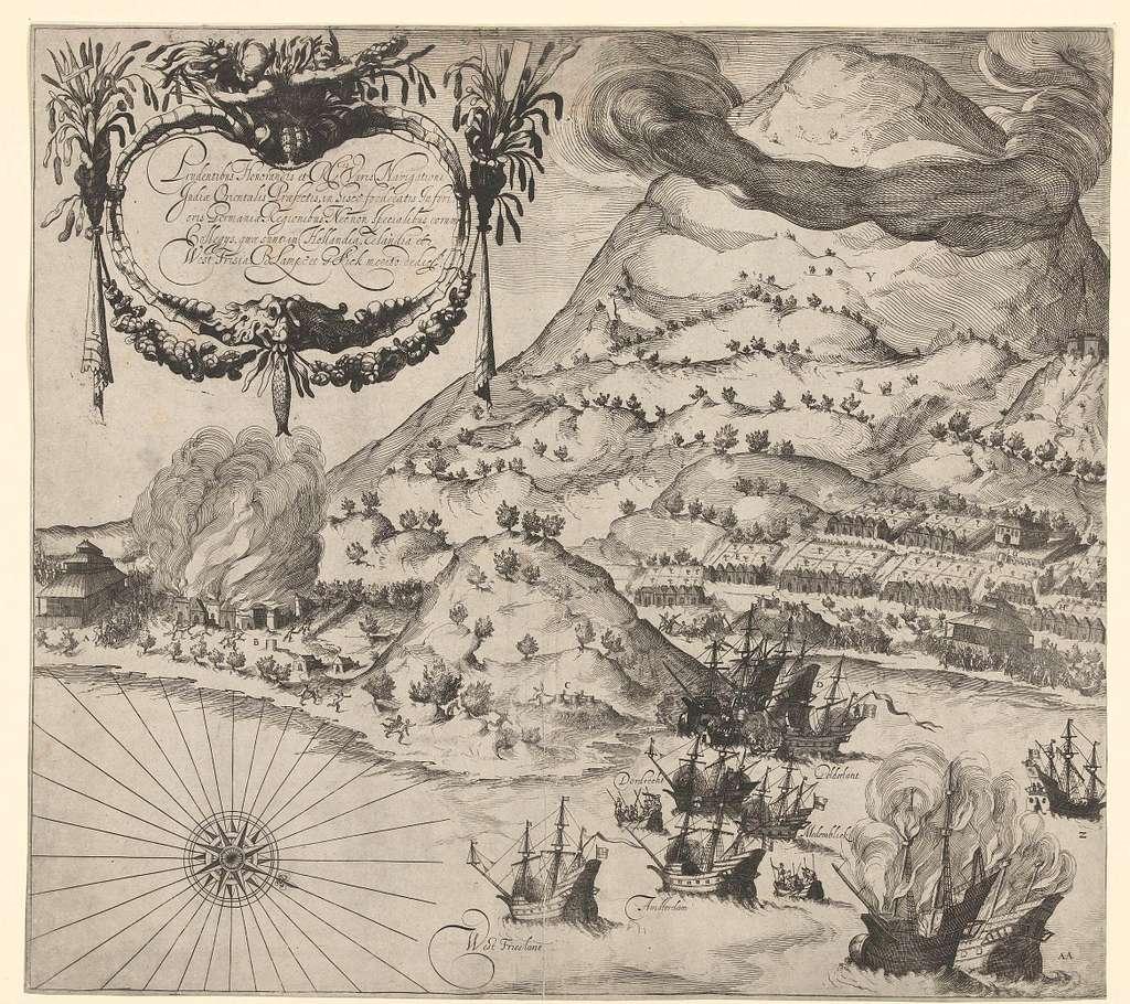 Overwinning van de Hollanders op de Portugezen op Tidore (linkerplaat), 1605