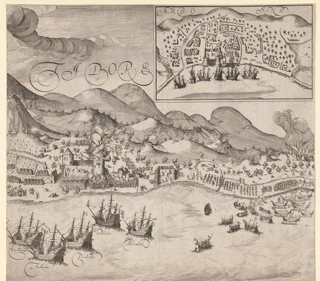 Overwinning van de Hollanders op de Portugezen op Tidore (rechterplaat), 1605