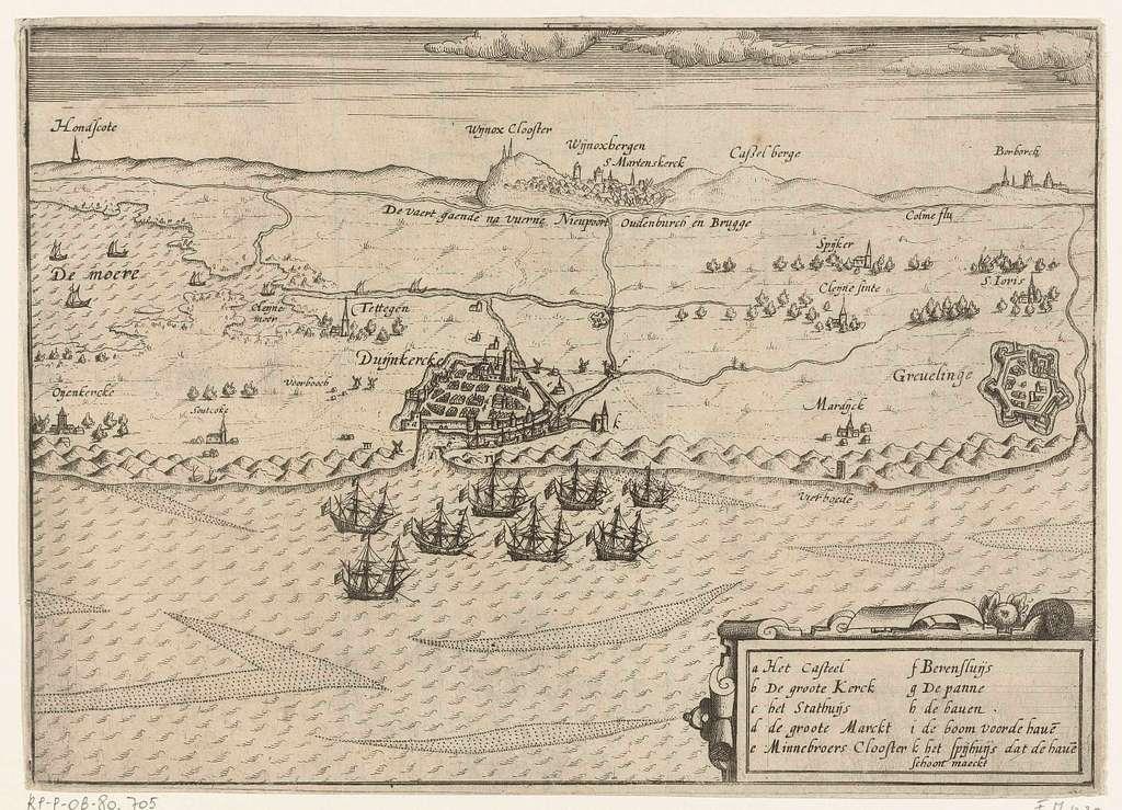 Hollandse schepen voor anker bij Duinkerke, ca. 1605
