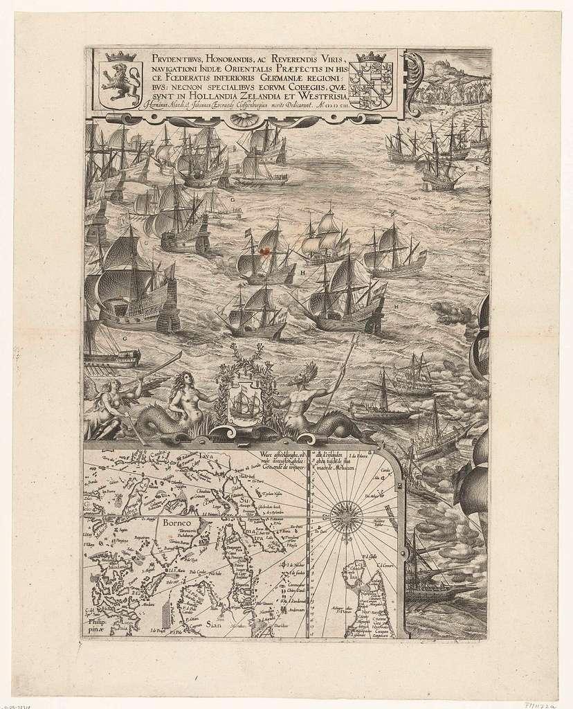 Overwinning op de Portugese vloot voor Bantam (linkerblad), 1601