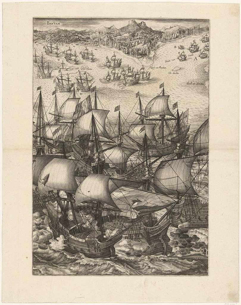 Overwinning op de Portugese vloot voor Bantam (rechterblad), 1601