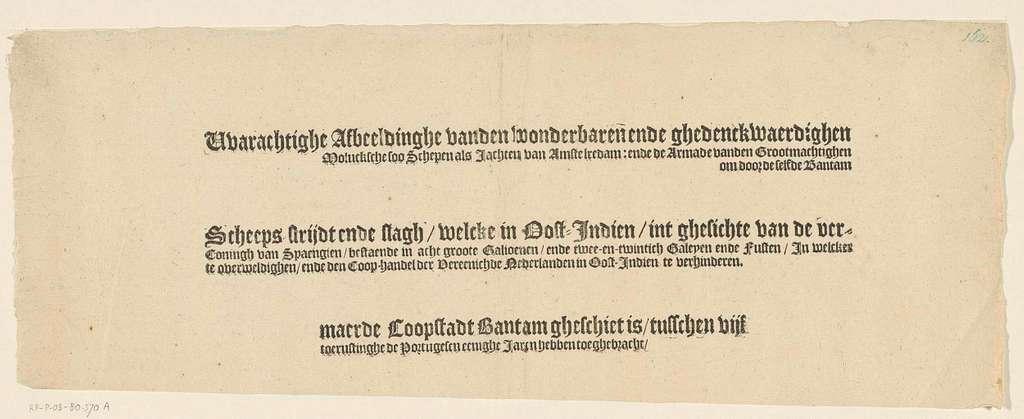Tekstblad met de titel voor de prent van de overwinning op de Portugese vloot voor Bantam, 1601