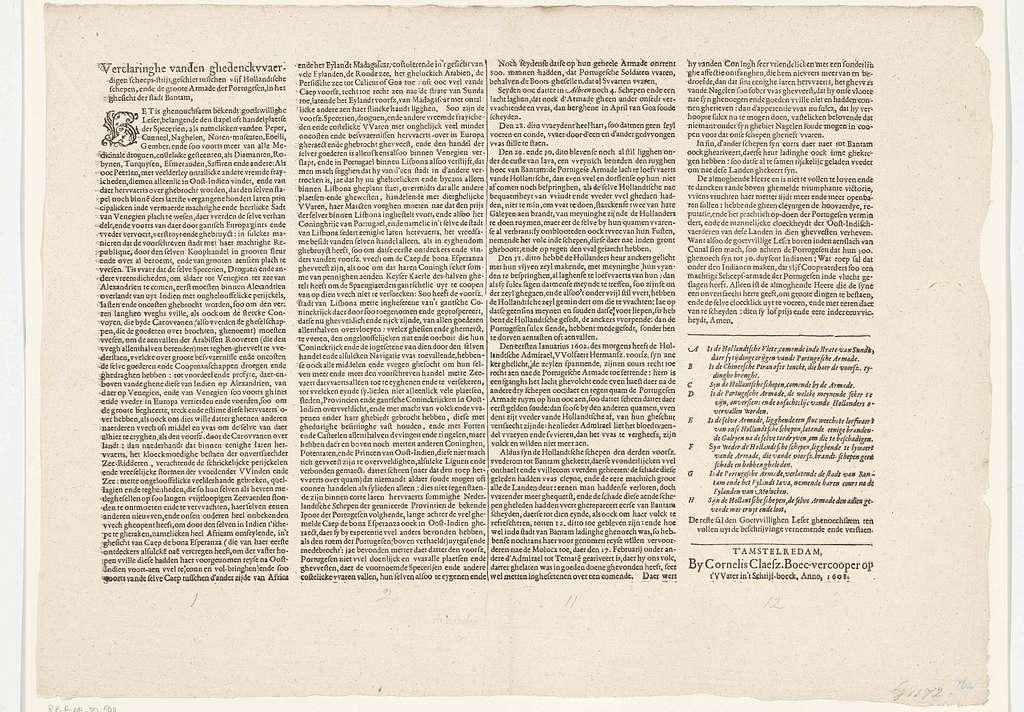 Tekstblad met het begin en eind van de beschrijving van de overwinning op de Portugese vloot voor Bantam, 1601