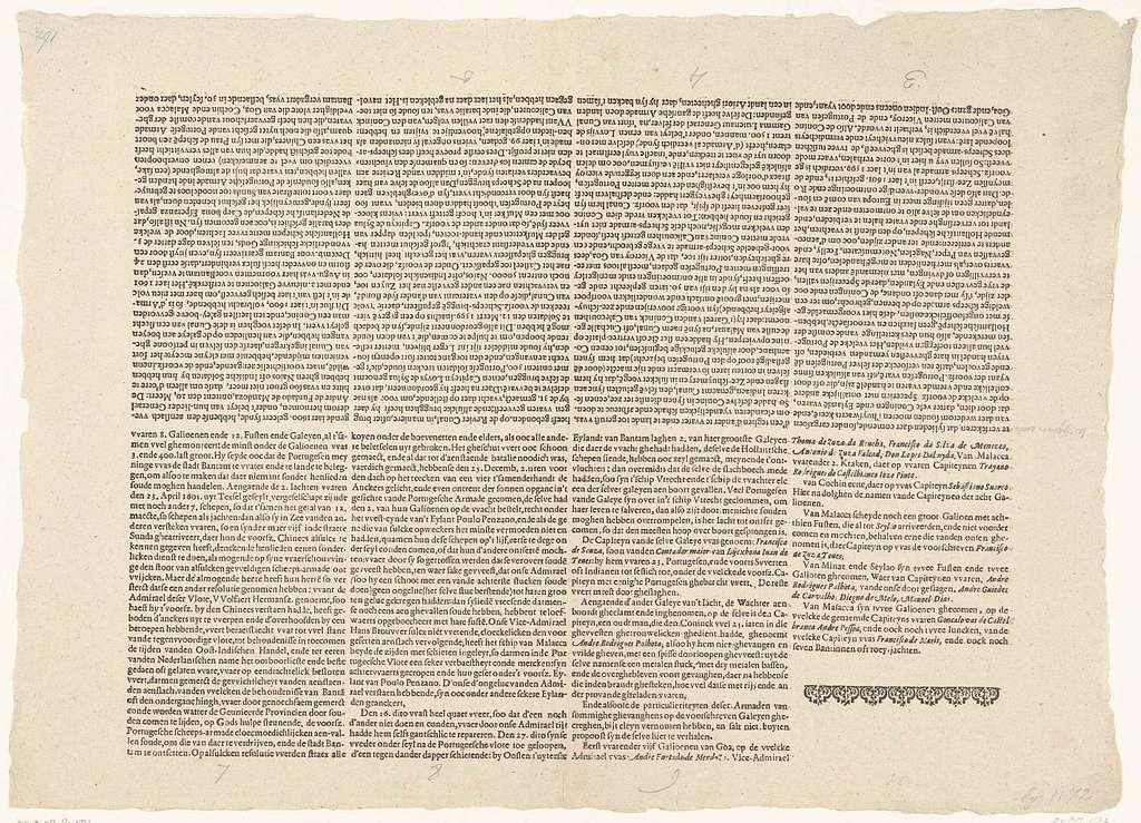 Tekstblad met het middenstuk van de beschrijving van de overwinning op de Portugese vloot voor Bantam, 1601