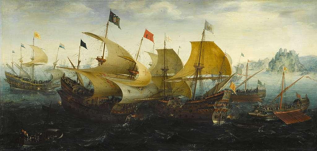 The Battle of Cadiz (Dutch and English Ships Attack the Spanish Armada)