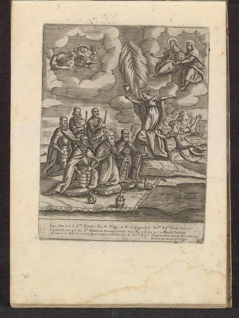 Pius V, Filips II, Alvise I Mocenigo, Sebastiano Vernier, Marcantonio Colonna en Don Juan van Oostenrijk knielend voor het Geloof