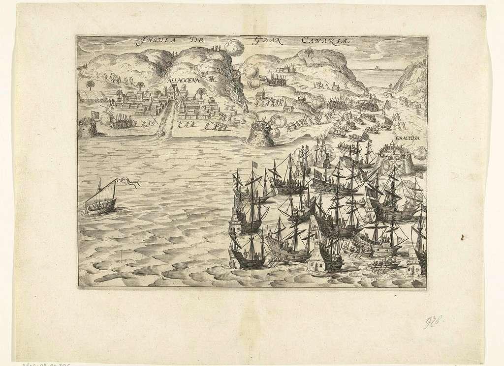Verovering van Gran Canaria door de vloot onder admiraal Pieter van der Does, 1599