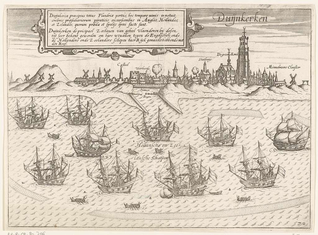 Tien Hollandse en Zeeuwse schepen voor anker bij Duinkerke, ca. 1605