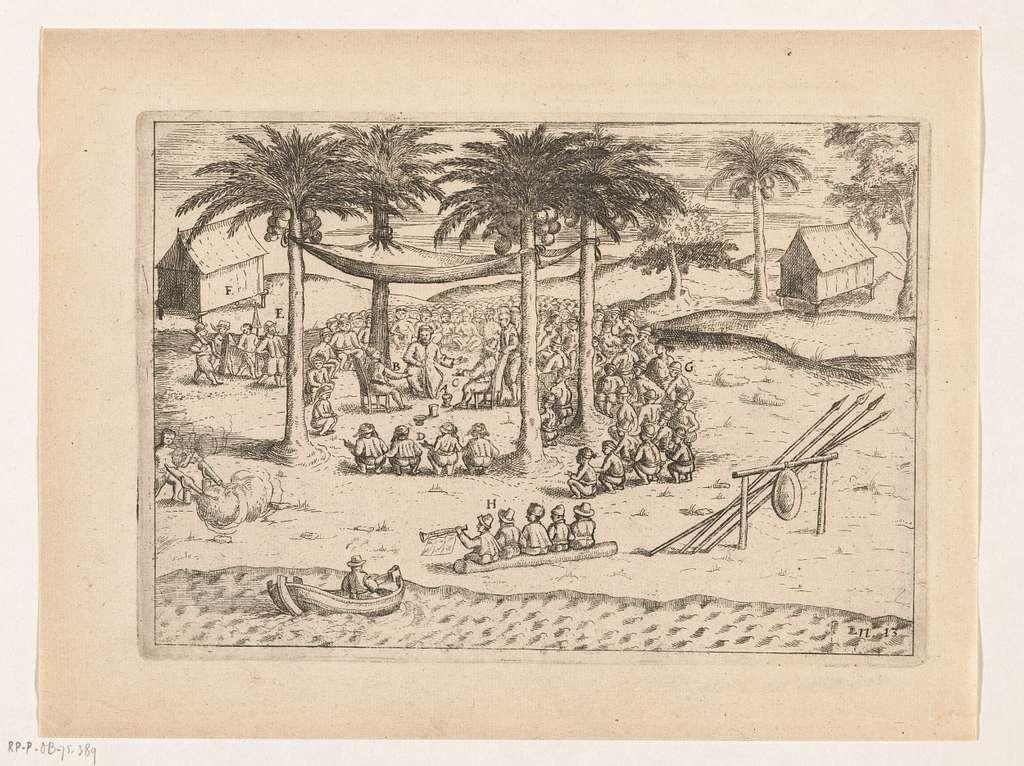 Vice-admiraal Jacob van Heemskerck ontmoet de koning van Ternate, 1599