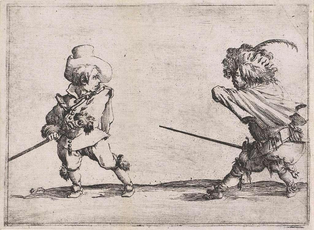 Twee dwergen met zwaarden in gevecht