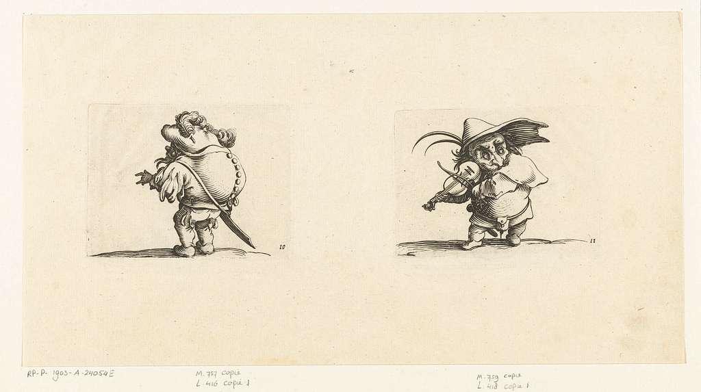 Dwerg met zwaard, een knopenrij op de rug; Dwerg met viool en zwaard