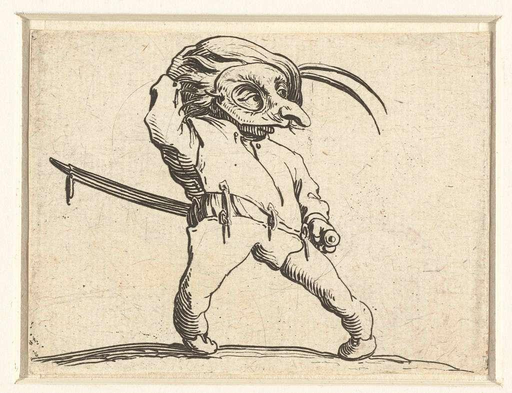Dwerg met zwaard en masker
