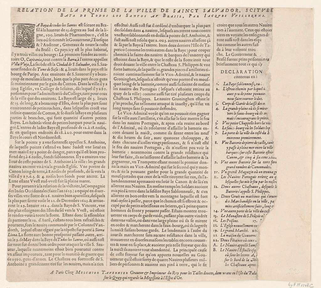 Tekstblad bij de prent van de verovering van San Salvador in Brazilië door admiraal Jacob Willekes, 1624