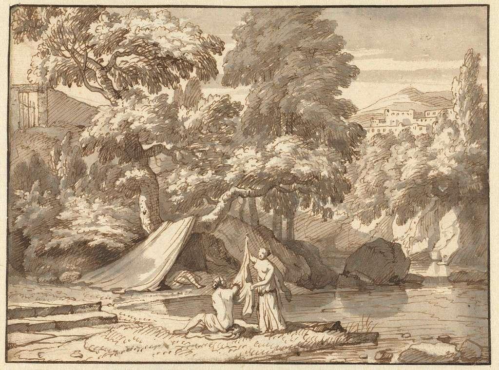 Arcadisch landschap met zich aankledende nimfen