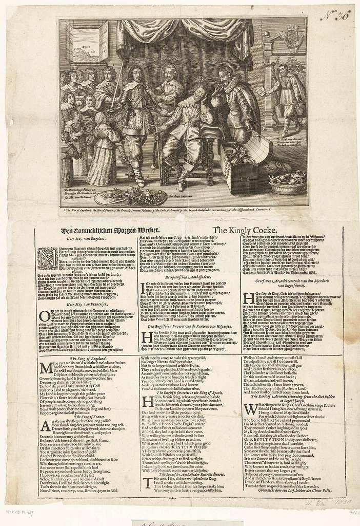 Spotprent op de passiviteit van de Engelse koning Karel I, ca. 1636-1641