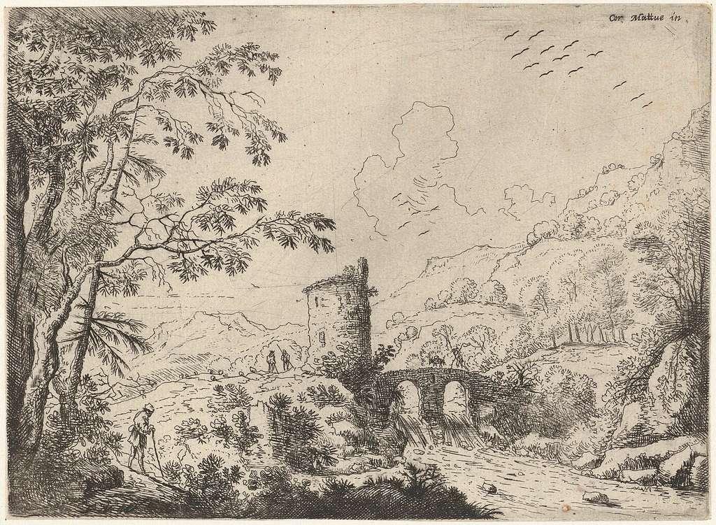 Landschap met een brug en een toren