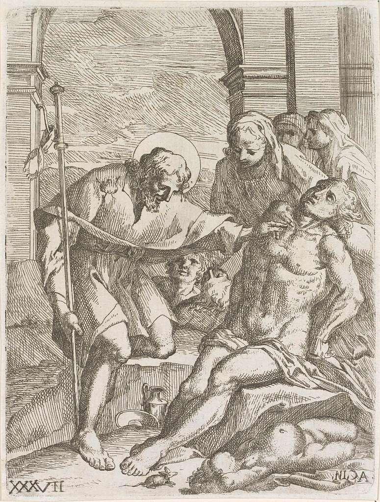 De heilige Rochus geneest een zieke