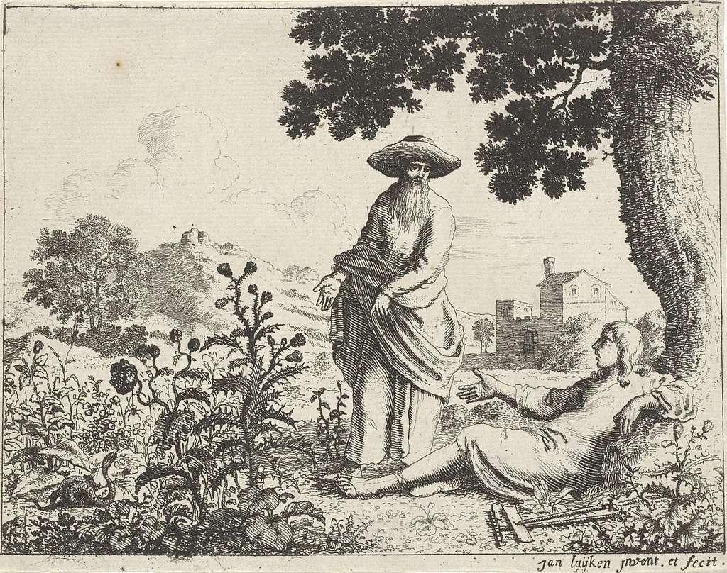 Oude Man Wijst Een Rustende Boer Op Een Slang Picryl Public Domain Image
