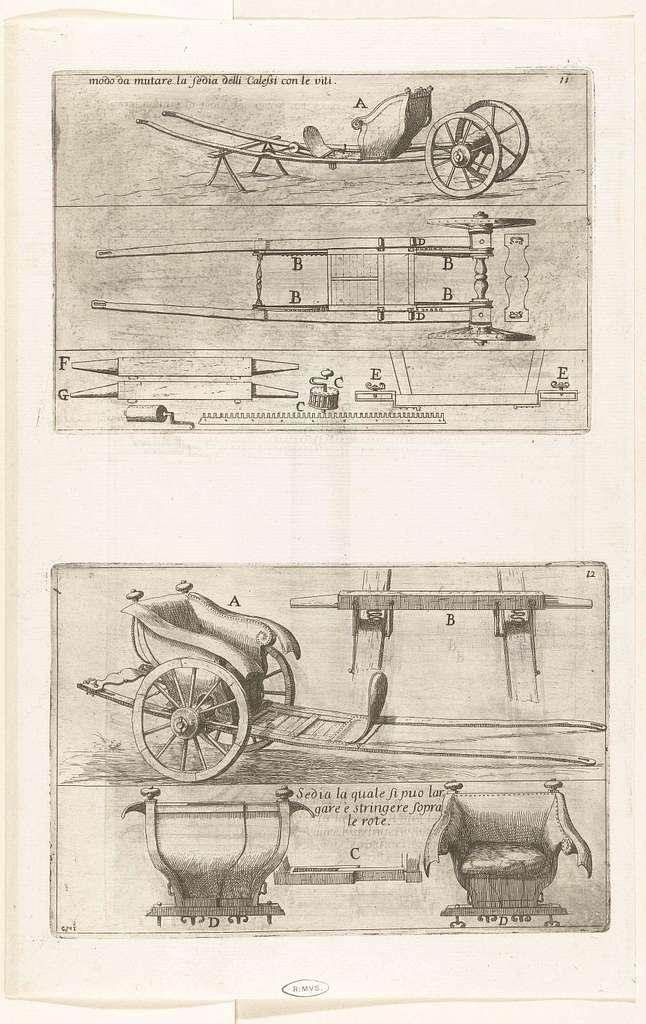 Twee afbeeldingen met de constructie van de onderdelen van een rijtuig met zetel voor één persoon