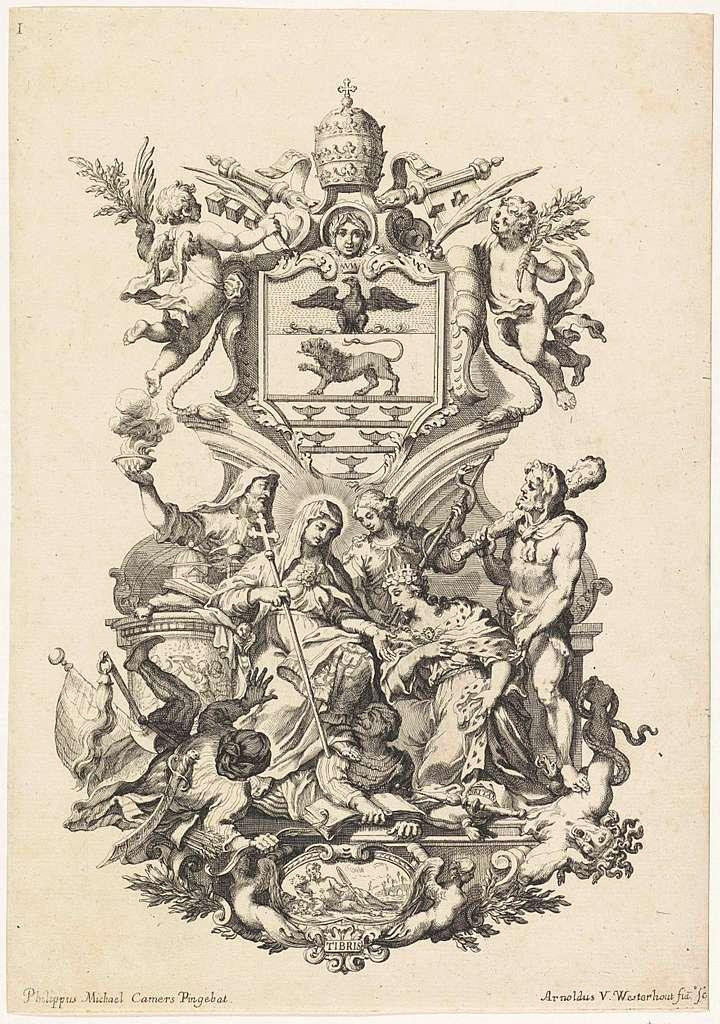 Cartouche met wapenschild van paus Innocentius XI