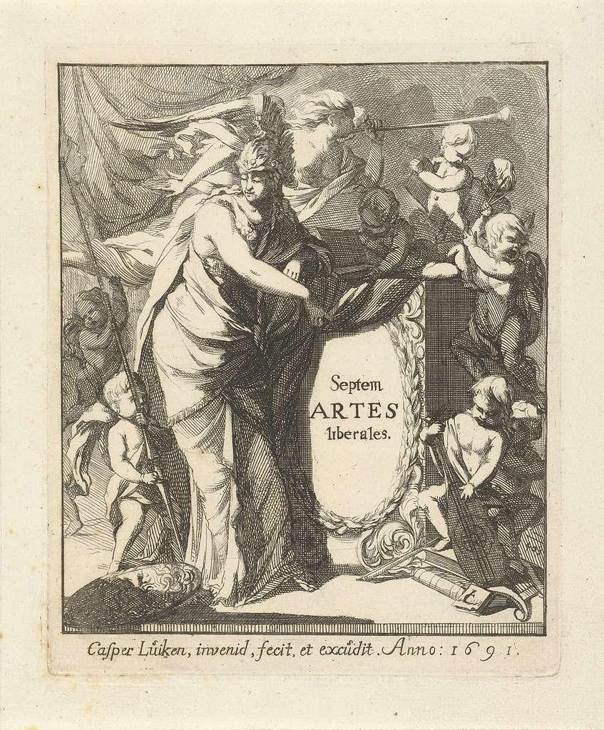 Minerva steunend op een piedestal