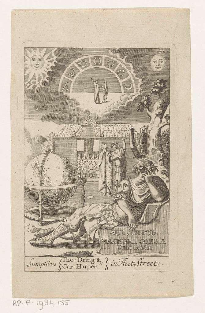 Ambrosius Theodosius Macrobius leunend op steen naast globe