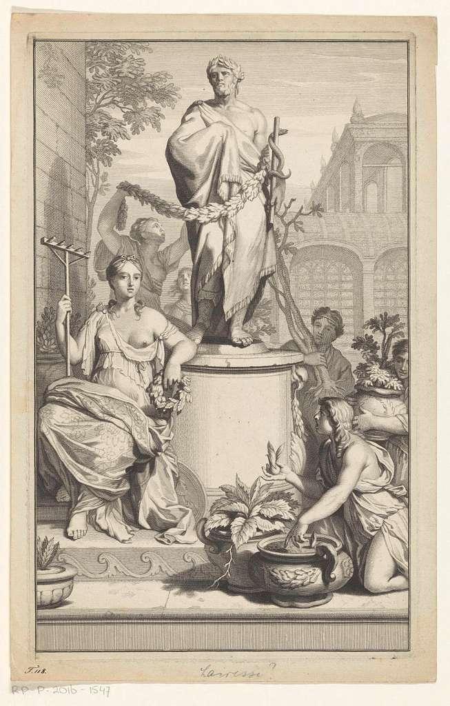 Asclepius omringd door allegorische vrouwenfiguur en figuren met boom en planten