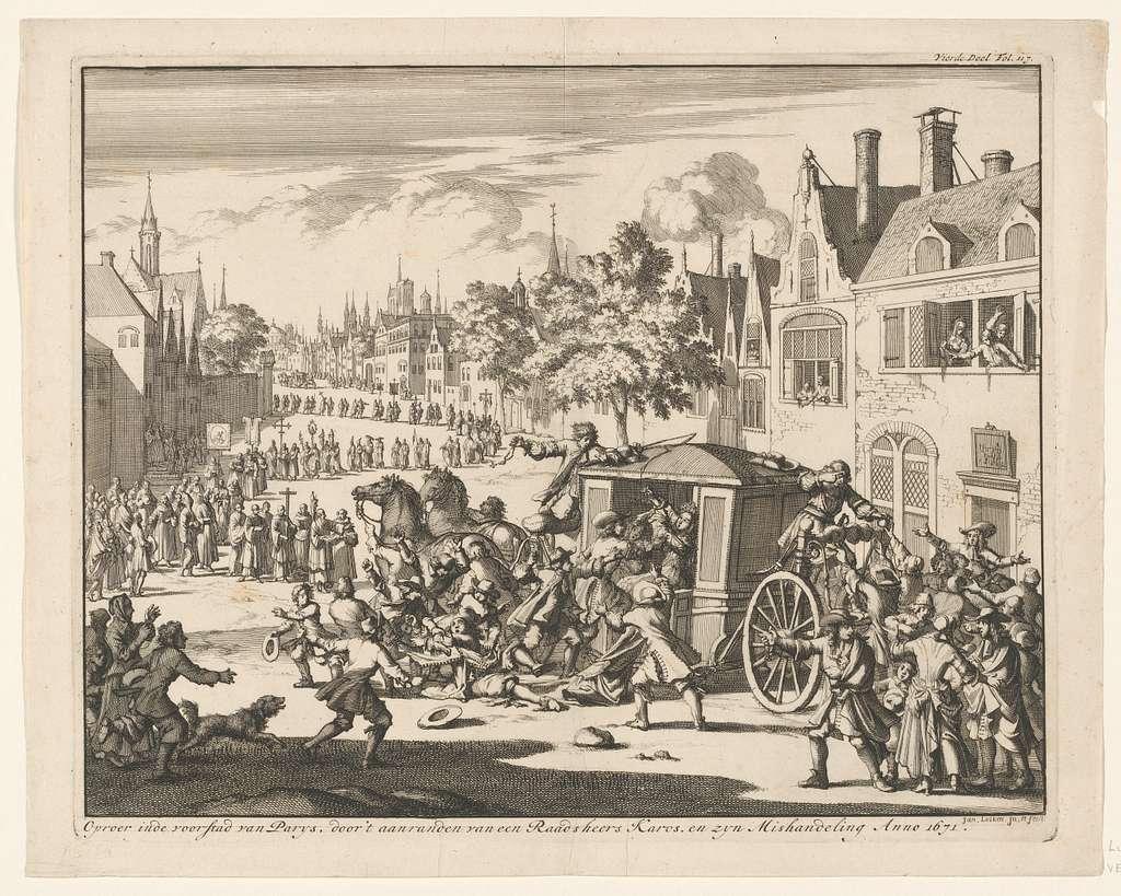 Oproer tijdens een processie in een voorstad van Parijs, 1671