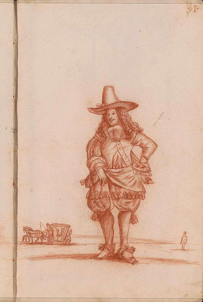 Staande man met een hoed in een landschap