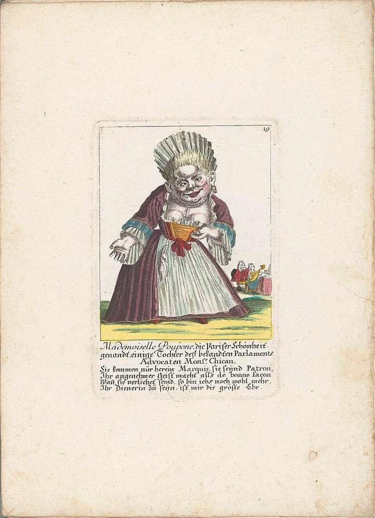 De dwerg Mademoiselle Poupon, als Parijse schone, ca. 1710