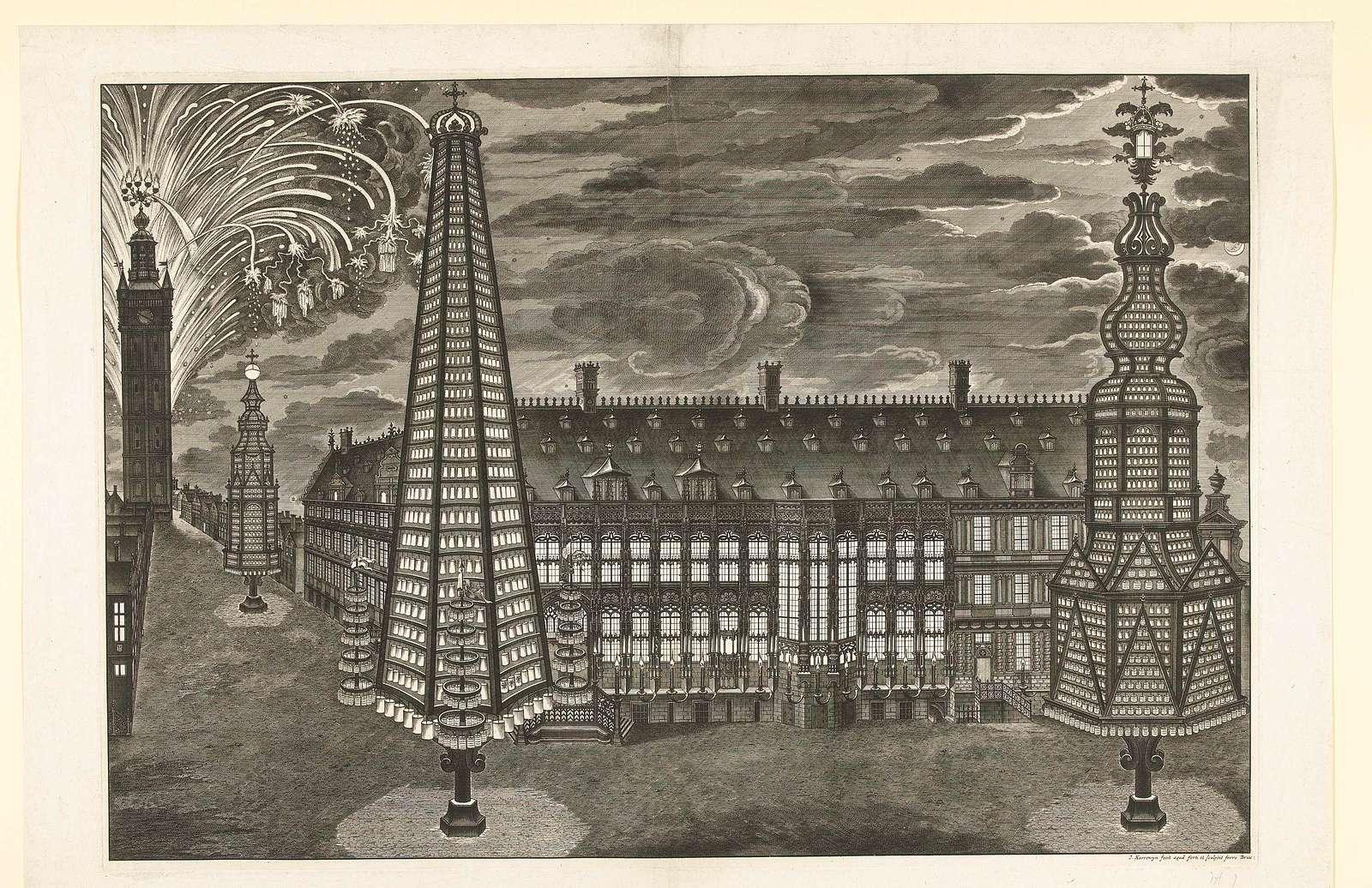 Illuminatie en vuurwerk te Gent, 1717