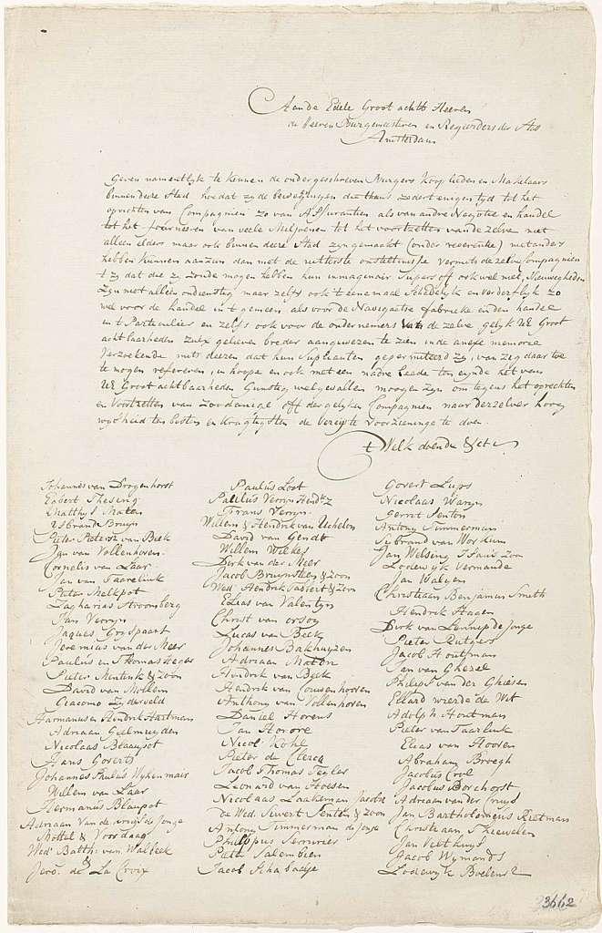 Request door Amsterdamse burgers en kooplieden aan het stadsbestuur van Amsterdam om een verbod op de oprichting van Windcompagnieën in de stad, 1720