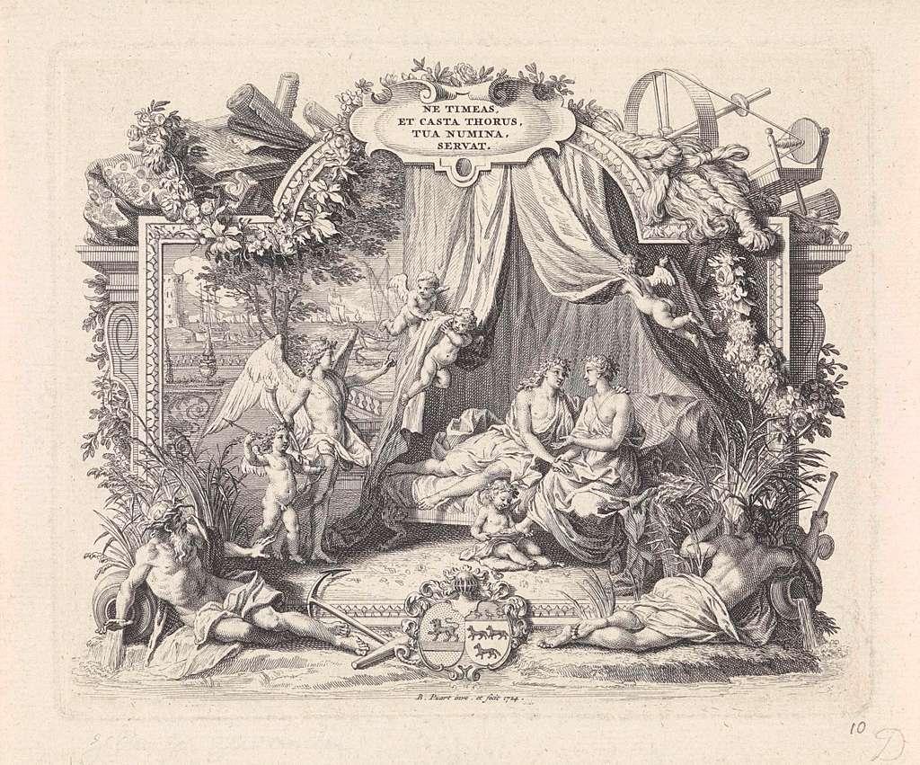 Allegorische voorstelling ter gelegenheid van het huwelijk van Jacob Dircksz van Lennep en Susanna Catharina de Wolff