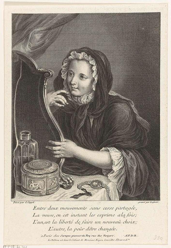 Jonge weduwe, zittend voor een spiegel aan een kaptafel