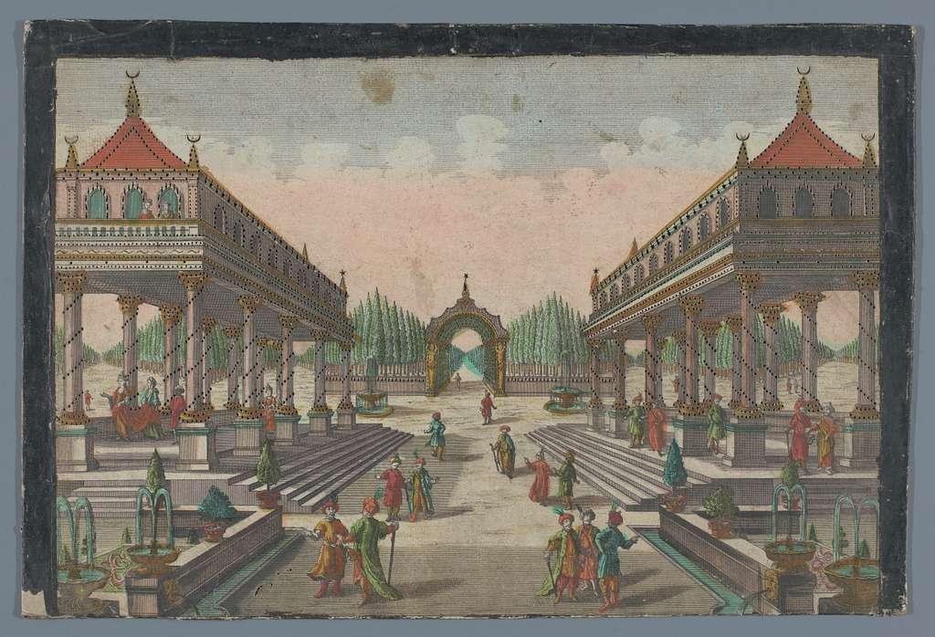 Gezicht op een zuilengalerij richting een cipressentuin te Constantinopel