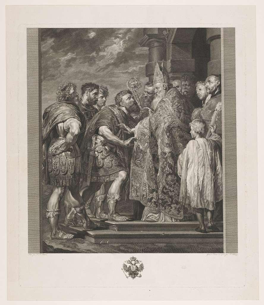 H. Ambrosius weigert keizer Theodosius de toegang tot de kerk te Milaan
