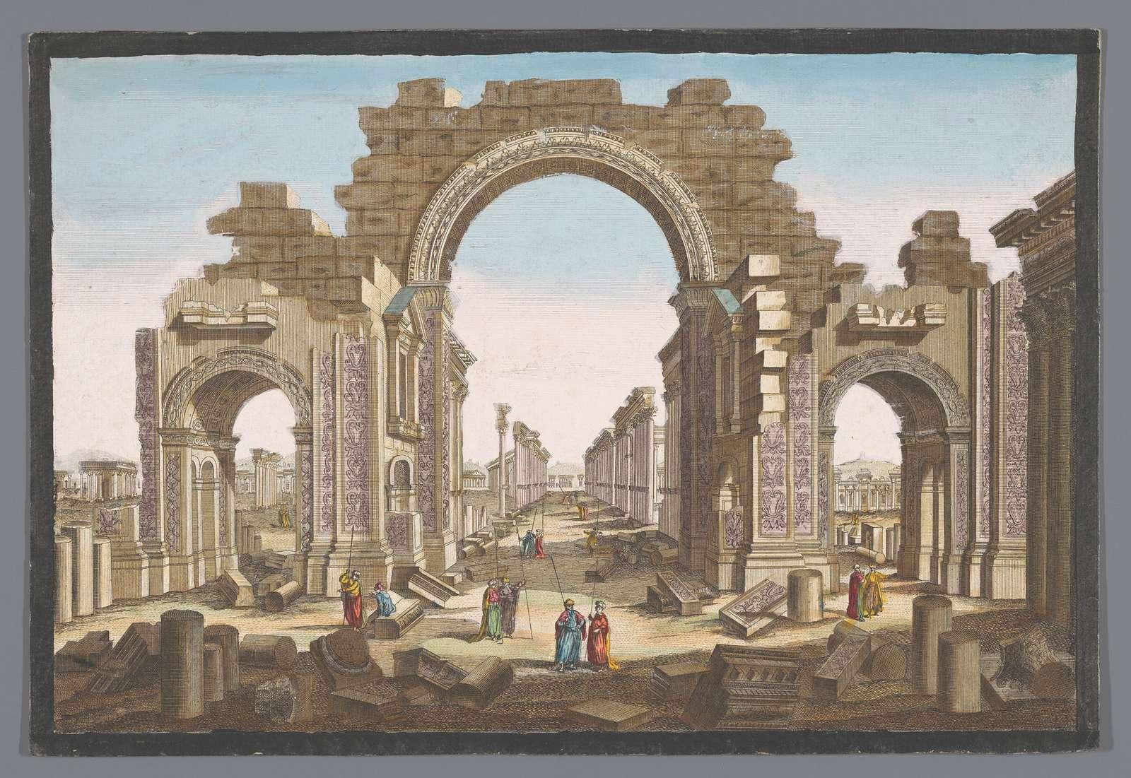 Gezicht op de ruïne van de boog van de zuilengalerij te Palmyra, gezien vanaf de oostzijde