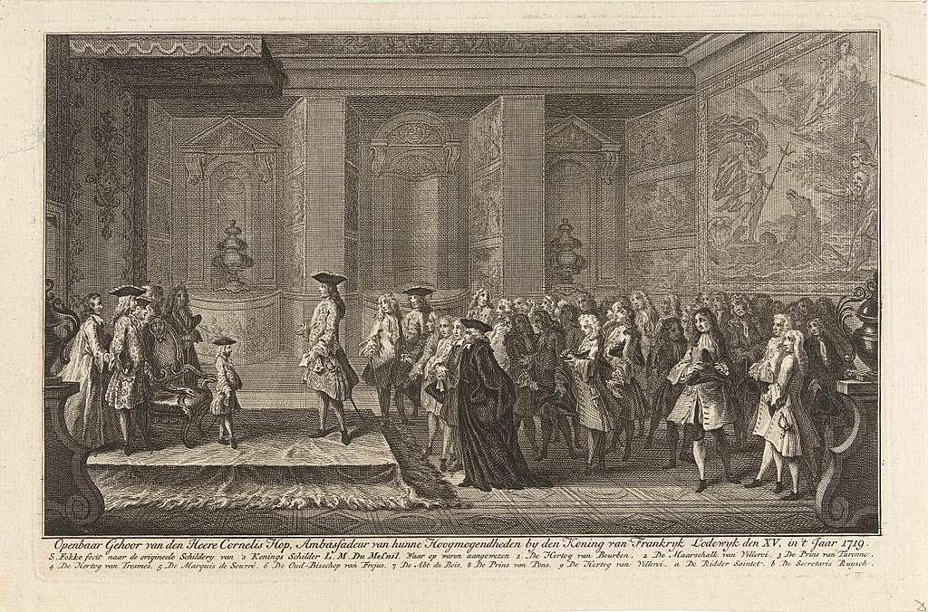 Audiëntie van Cornelis Hop bij de jonge koning Lodewijk XV, 1719