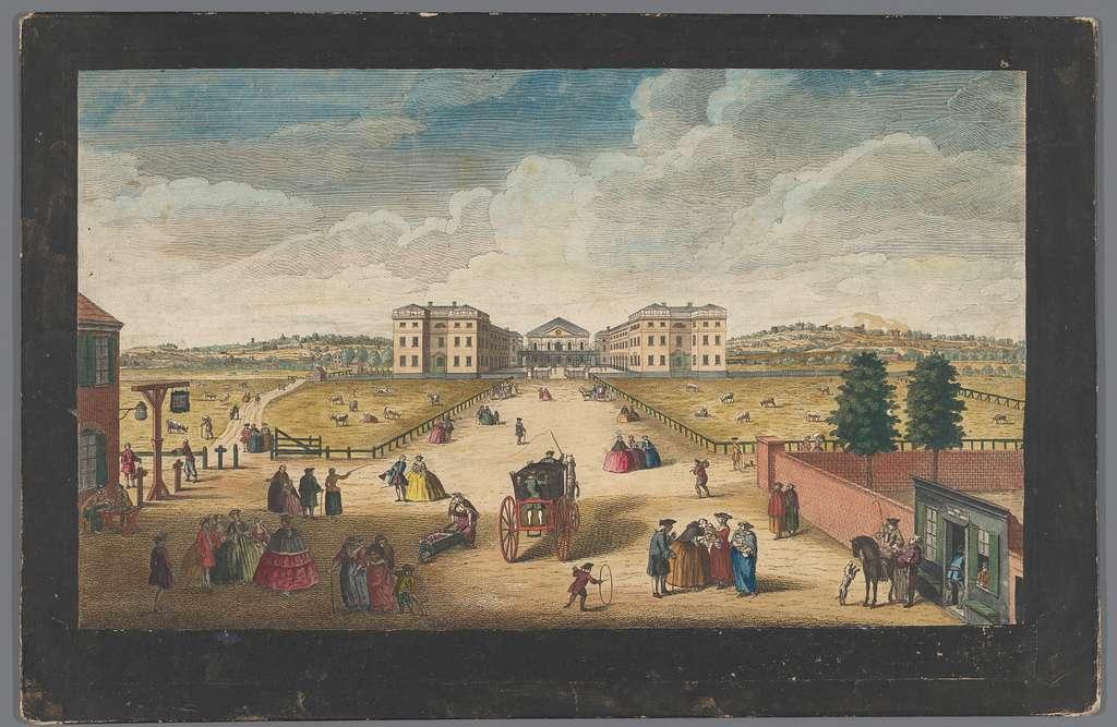 Gezicht op het Foundling Hospital te Londen
