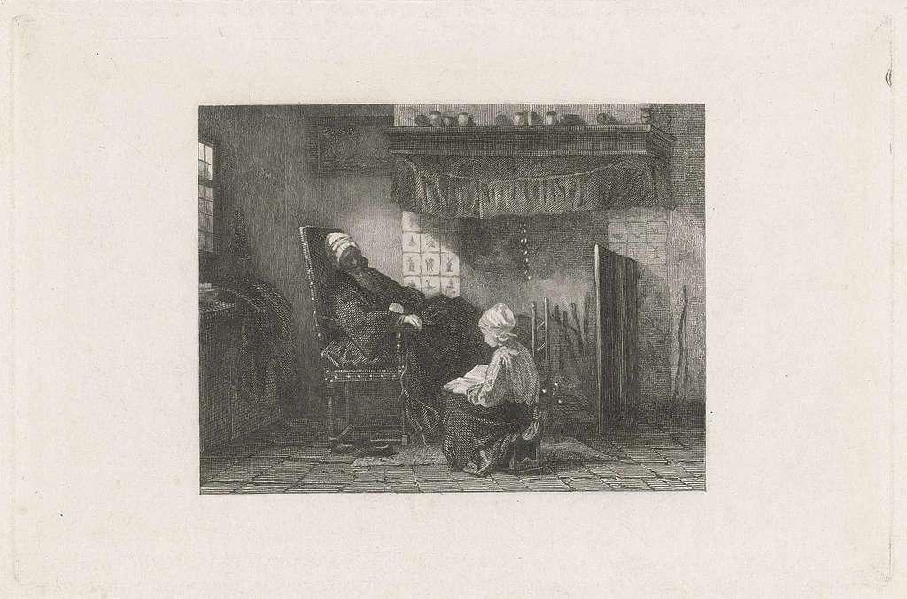Oude vrouw voor een haardvuur