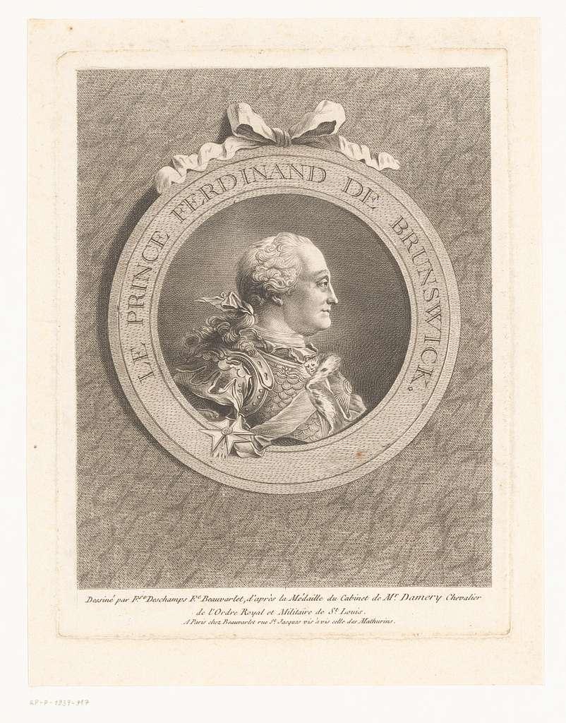 Portret van Karel Willem Ferdinand van Brunswijk-Wolfenbüttel